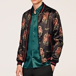 Zara man Asian inspired print satin bomber jacket